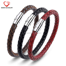 China Alibaba Hot Sale Beautiful fashion cheap leather bracelet parts stainless steel jewelry