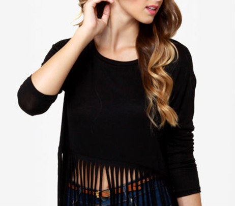New Fashion Crop Top Shirt Tassels Only Ladies Blouse Design Ladies Cotton Tops  Designs. New Fashion Crop Top Shirt Tassels Only Ladies Blouse Design