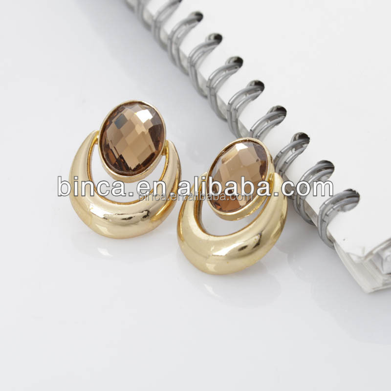 Stock Earrings Oval Gold Stud Earrings Mixed colours E122