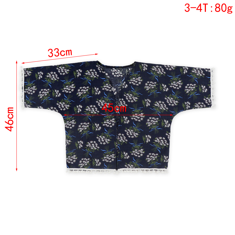 New arrival cotton baby girls kimono 3/4 sleeve floral printed summer coat