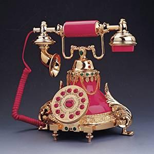 QJYB European antique telephones metal classic European retro home telephone villa for living room decor princess paragraph , pink