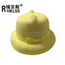 best selling children roll up brim kids cute cat ears straw pork pie hat