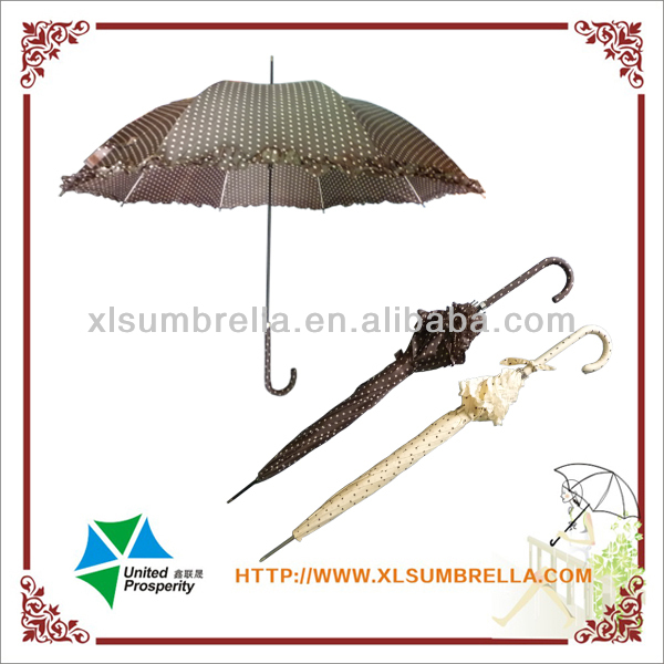 "23"" white dot polyester fabric fiberglass ribs straight umbrella"