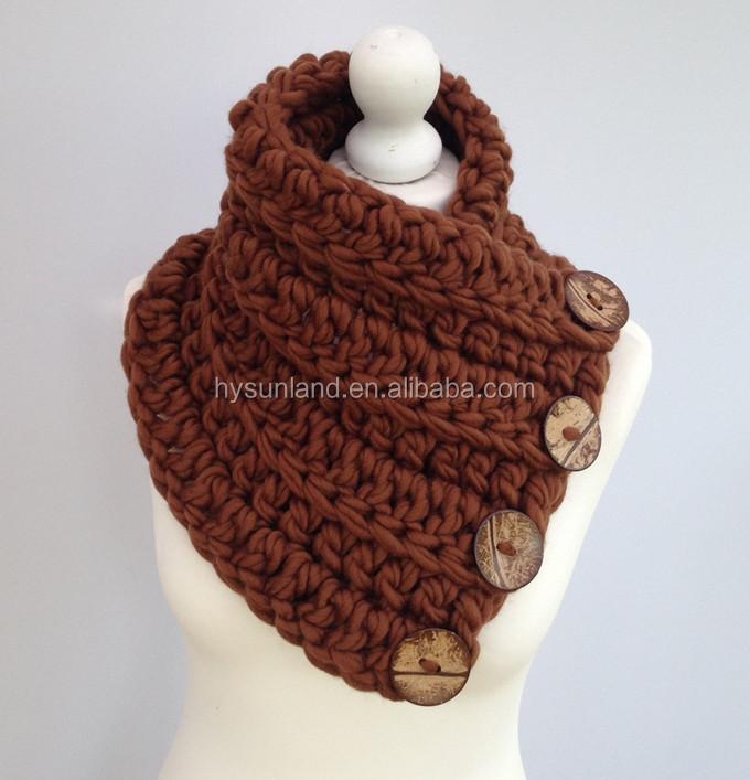 Fabrik Preis Ky1803 Frauen Chunky Knit Gugel Schal Halswärmer Hals