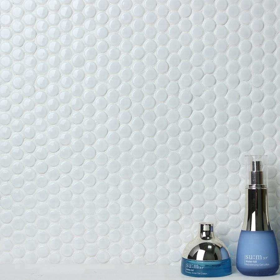 Déstockage Échantillon Gratuit Petite Maison Penny Rond Poli Mosaïque De  Mur De Salle De Bains Super Cristal Blanc Carrelage Conceptions - Buy