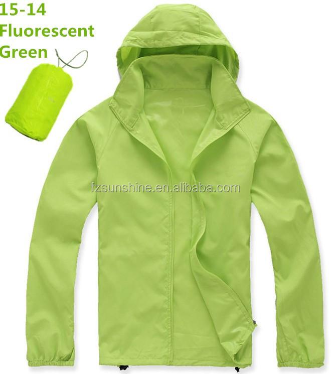 Green Waterproof Foldable Uv Protection Lightweight Windbreaker ...