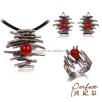 Power Ripple Design Red Agate 925 Sterling Silver Women Jewelry Set