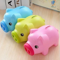 Free Shipping Portable Cute Plastic Piggy Bank Saving Cash Coin Money Box Children Toy Kids Gifts Home Collection 3 Colors