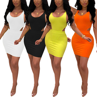 Pure Color Black Crew Neck Sleeveless Mini Length Women Two Piece Set Sexy Bodycon Dress Women Clothing