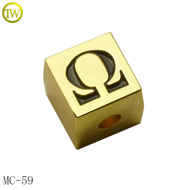 Custom madegold metal beads engraved bead logo for jewelry