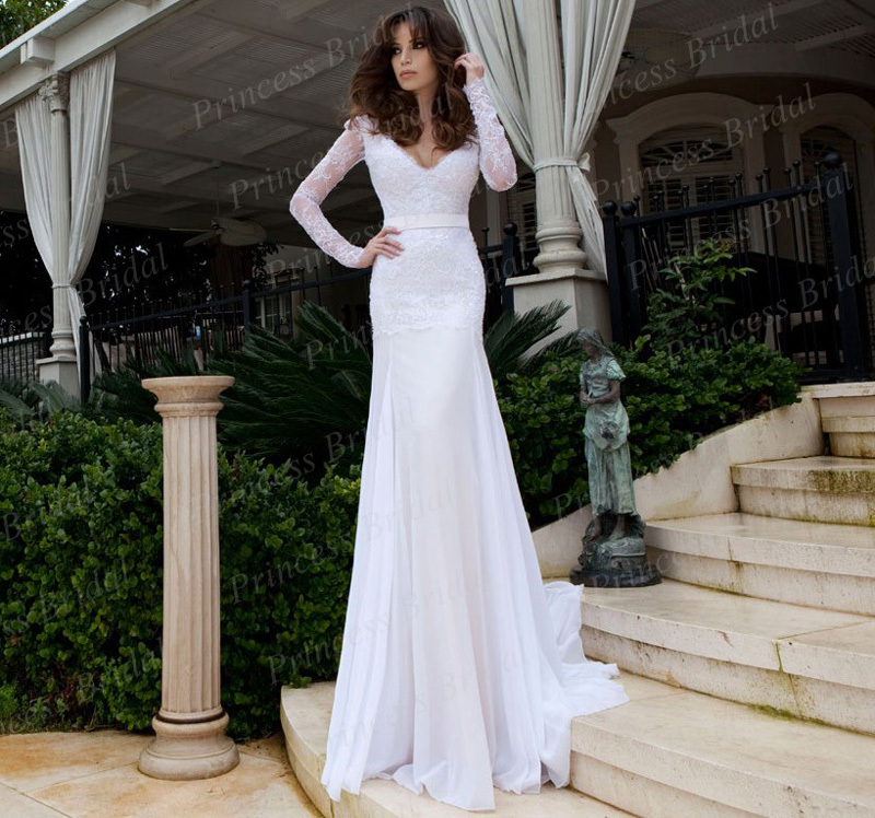Drop Sleeve Wedding Gowns With: Drop Shipping Attractive Mermaid Deep V Neck Lace Up Back