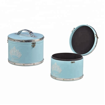 Chinese style handcrafted cylindric leather gift box with embroidery craft makeup organizer and jewelry storage box