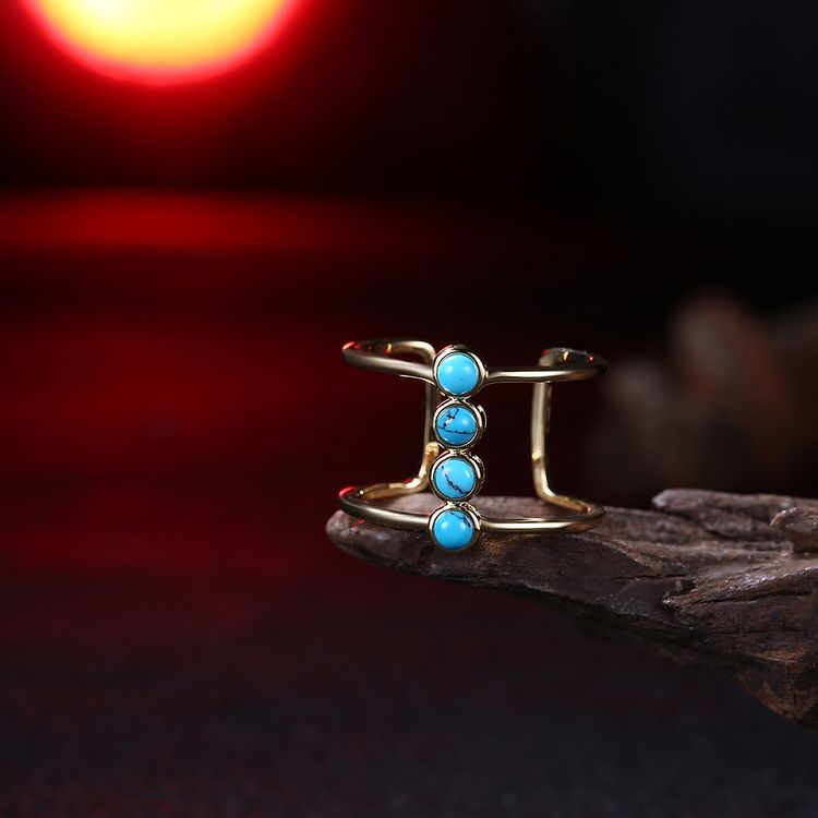 Birthstone Turquoise Ring Wholesale Dubai Gold Plated Adjustable Gemstone Rings