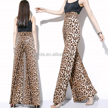 c37737a400a European Leopard Print Wide Leg Pants Women High Waist Skirt Pants Loose  Bell Bottom Trousers Chiffon