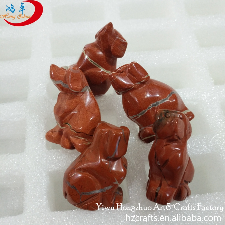 Christmas dog decoration Natural gem stone Carved wedding gift