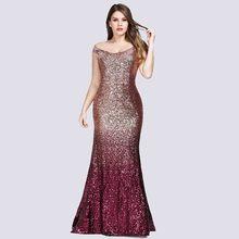 Платья для выпускного бала большого размера 2020, длинное изящное платье с блестками и русалочкой ep087999, красное элегантное платье для выпускн...(China)