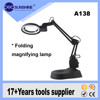 Portable 5X 8X magnifying lamp with foldable with base stand A138