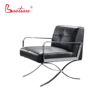 moderne rode stoel met rvs basis italiaanse lederen fauteuil - Fauteuil Stainless