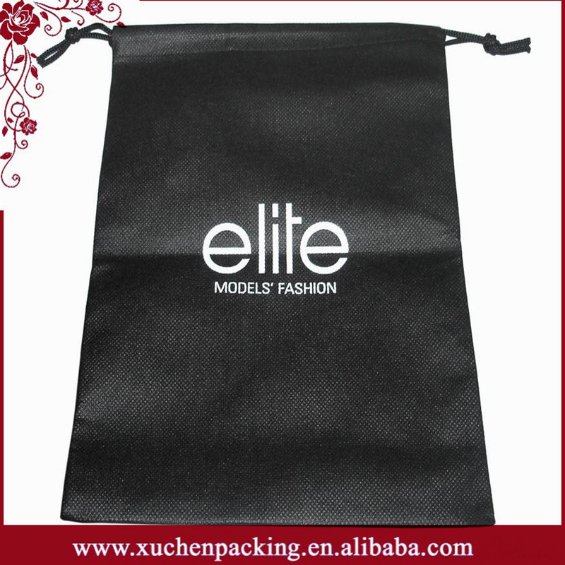 Factory Wholesale Large Size Black Drawstring Non Woven Bag With White Words Printing