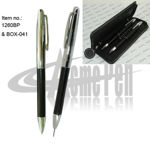 ACMECN Brand Classic PU leather pens Hot Sale Popular Writing Stationery Couple pen and Pencil Sets