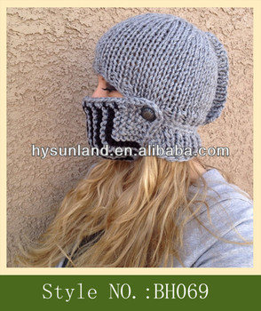 fb155a163c5 Crochet Pattern Knight Helmet Hat With Adjustable Face Mask - Buy ...