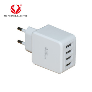 Good supplying EU/US multi ports 4 pin 5V 4A usb fast cell phone adapter travel charger plug for iphone