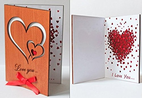 Handmade Real Wood Love You Hearts Unique Greeting Card Best Happy Birthday Gift Wedding Dating 5th