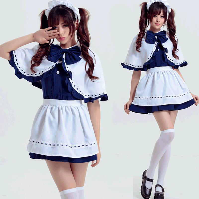Lucu Japanese Perempuan Mudah Lengan Pendek Lolita Maid Biru Cosplay