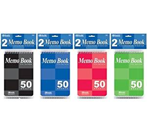 "2 Pk, BAZIC 4"" X 6"" Top Bound Spiral Memo Books 50 Ct. Each(4 Books in Total)"