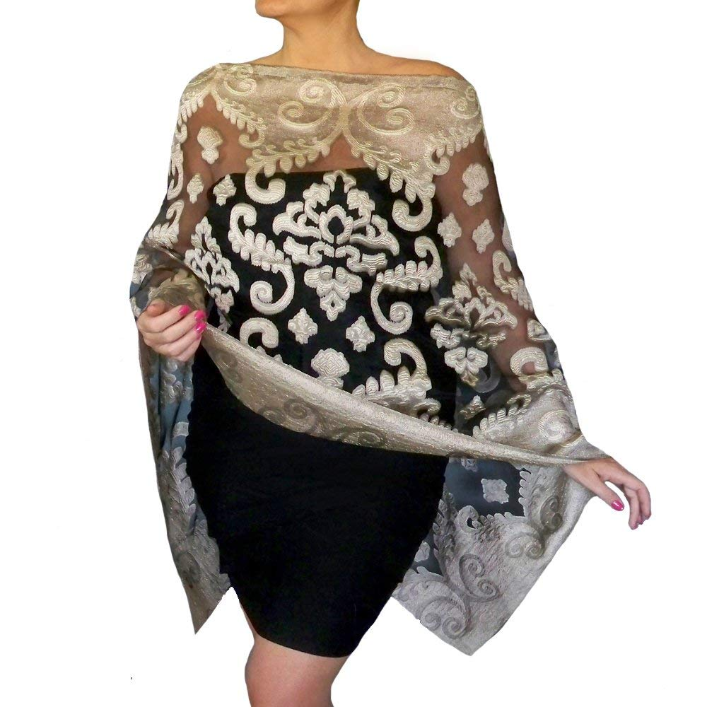 7d02bba19287d Get Quotations · Plus Size Old Gold Shawl Evening Wrap Black Organza Scarf  By ZiiCi