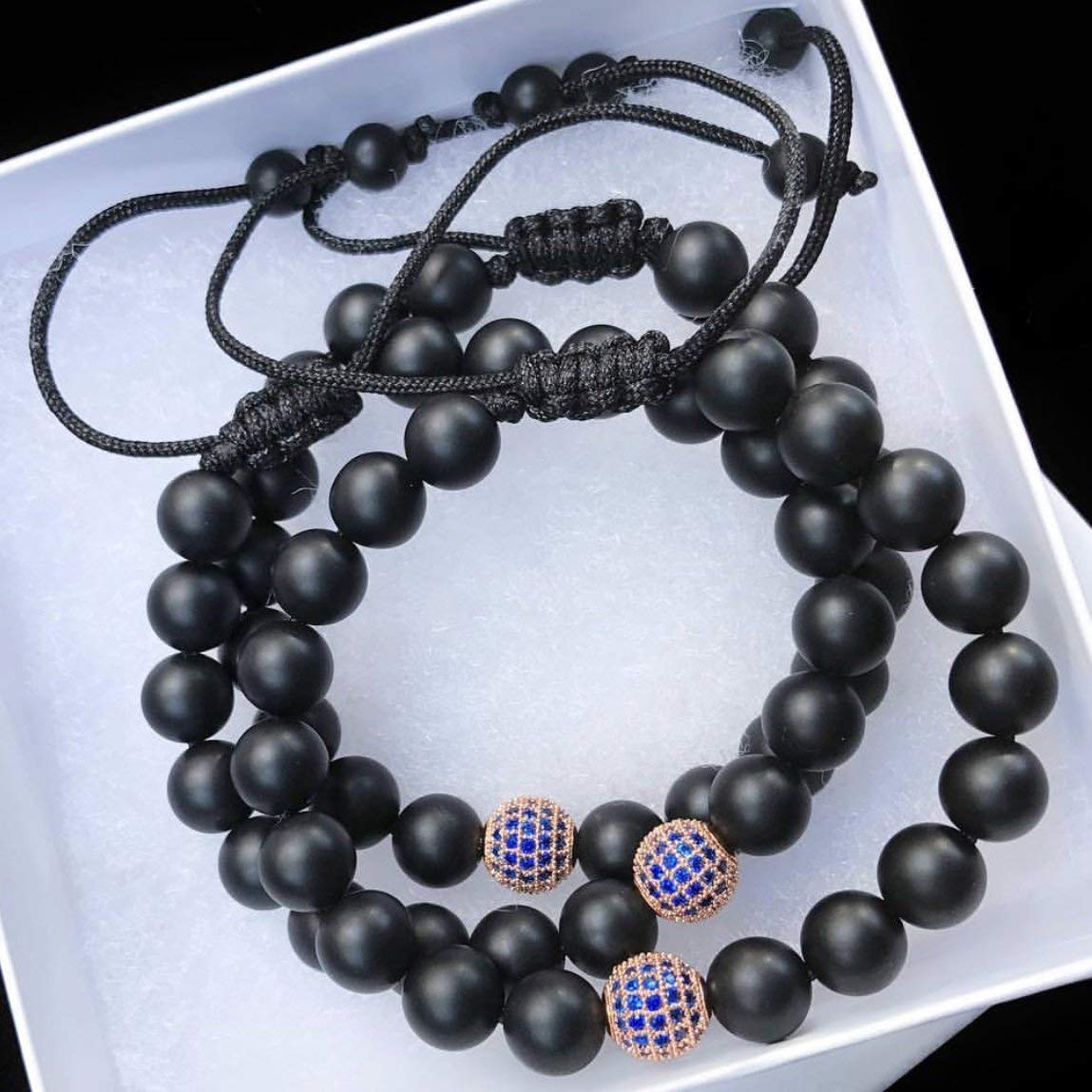 Handmade Macrame Bead Bracelet, Natural 8mm Matte Black Onyx Beads, 8mm Rose Gold Round Pave Bead, Capri Blue CZ Pave Disco Ball Bead, Men and Women Bracelets