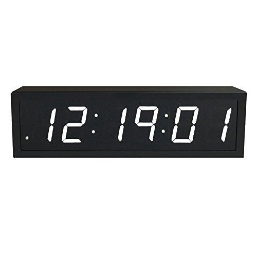 "TimeMachines Precision Digital PoE Clock, 2.5"" x 6 White Digits, Black Case"