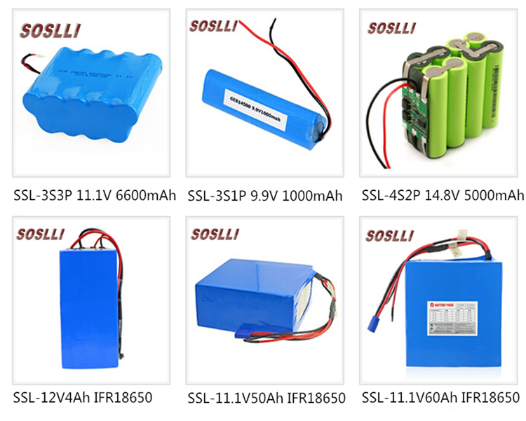 SOSLLI 3.7v 2000mAh 18650 li-ion battery cell 48V 12Ah Lithium ion battery pack with PVC ABS package