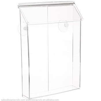 Clear Acrylic Storage Containers Outdoor Magazine Holder for Flyer and Papers Take One Box with Suction Cups