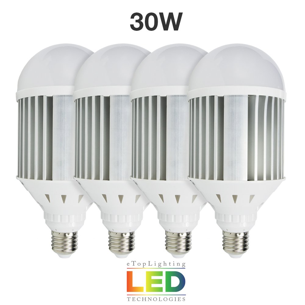 eTopLighting [4-Pack] 30W LED Light Bulb Super Brilliant Bright Edison E26/E27 with Aluminum Heat Vents for Use in Work Sites, Garages, Security Lights, 5500K Day Light, APL1464
