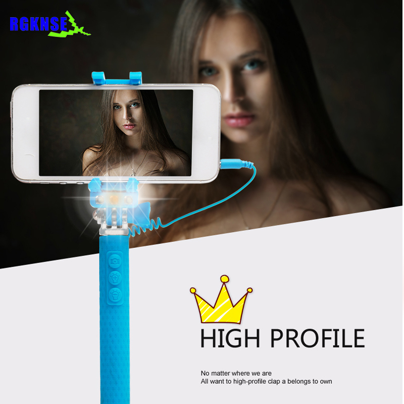 Rgknse super 2018 mini rk-mini 3S Cable Take Pole LED selfie Night Shot Flexible Tripod Mini Selfie Stick