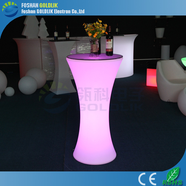 High and low LED cocktail table as Glow furniture GLACS/Music/Light Control