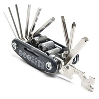 16 in1 Multifunctional High Quality Alloy Steel Cycling Bicycle Repair Tools Black Bike Combined Tool