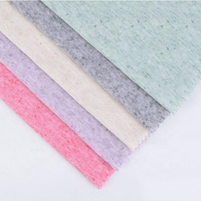 Fancy polyester plain weave prime knit linen jersey fabric in stock