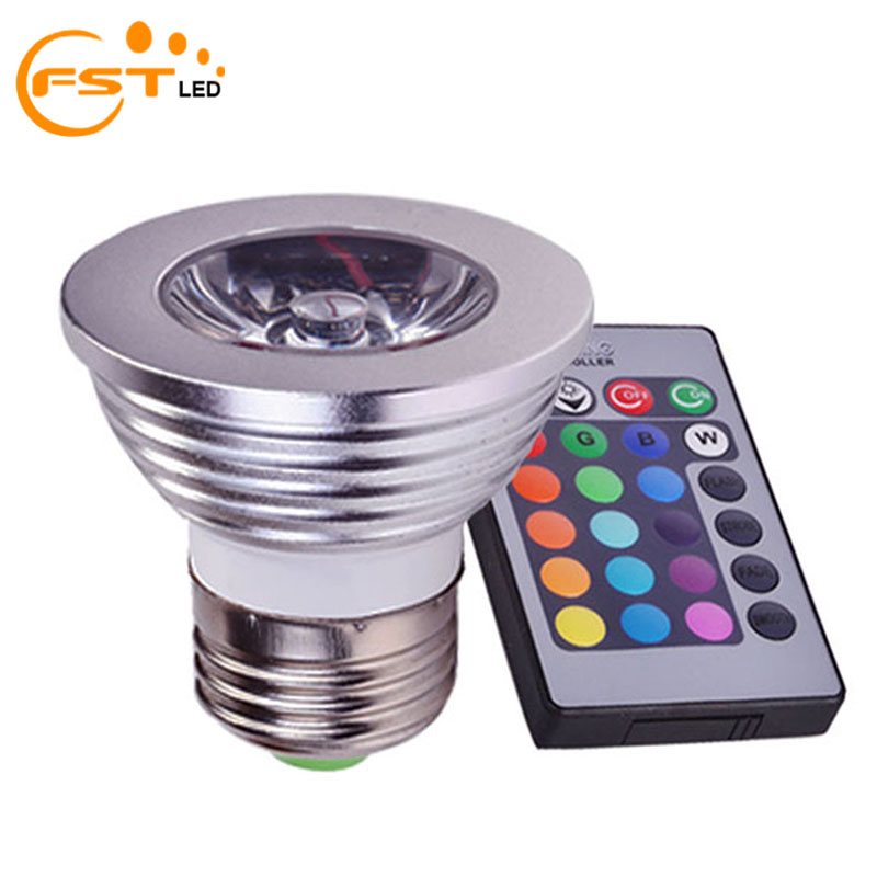 3W MR16 GU5.3 GU10 E27 LED Light 16 Color Change Lamp RGB LED spotlight 85-265v with IR Remote