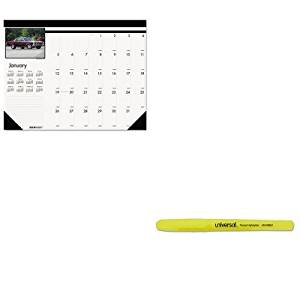 KITHOD169UNV08851 - Value Kit - House Of Doolittle Classic Cars Photographic Monthly Desk Pad Calendar (HOD169) and Universal Pocket Clip Highlighter (UNV08851)