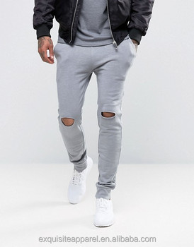 f27fead97e7e9d custom design fashion rock style sweatpants for men cool grey knee rip  joggers pants street style