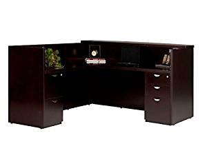 "Mayline L Shaped Reception Desk W/Wood Veneer 72""W X 84""D X 43.5""H Includes 2 Banks Of Drawers: One Box, Box, File Drawer & One File, File Drawer - Espresso"