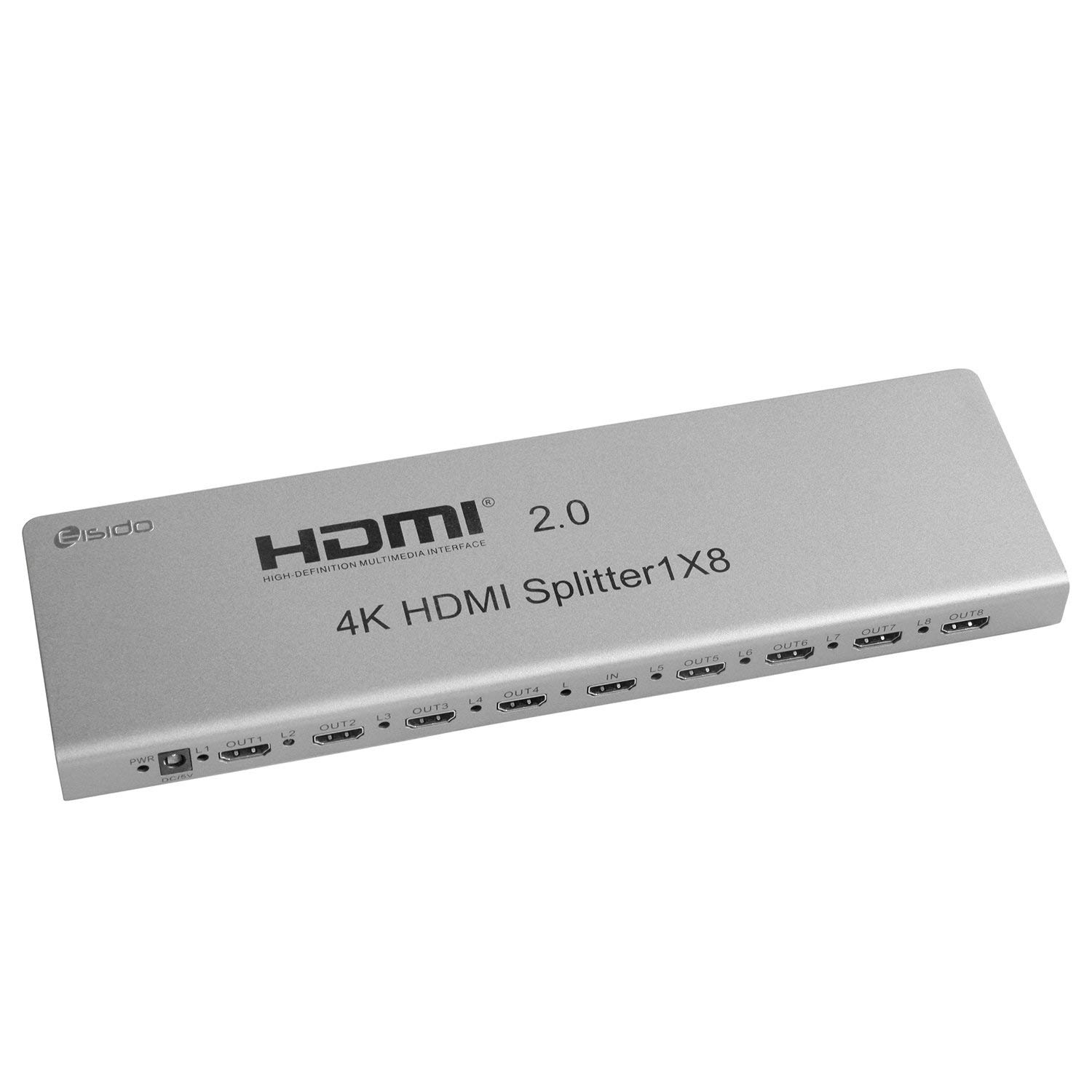Eisido 4K/60Hz 3D HDMI2.0 Splitter 1 In 8 Out with IR Extension EDID Management RS232 for Blu-ray DVD Player Ultra HD 4K TV PS4 Laptop etc