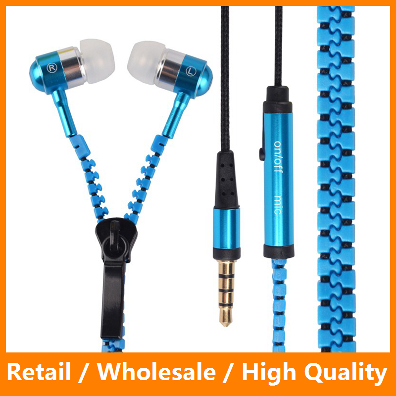 3.5mm Metal Earphones Earbud With Microphone Zipper Stereo Headphone for iPhone 7 7 Plus Samsung s8 s8 Plus