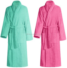 loungewear ladies Double shawl collar Patch pockets Cotton plush Terry Robe with Self belt For Women lounge wear