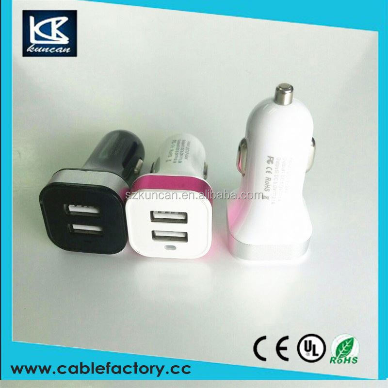 Good price dual usb car charger with 12v socket output 5V input 12~24V car adaptor