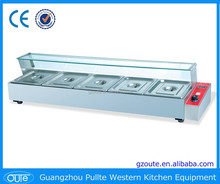 Commercial Stainless Steel Counter Top Bain Marie Food Warmer Food Warmer With Glass Cover