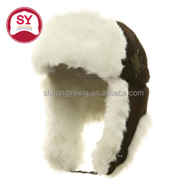 Newest faux fur winter hat Siberian hat with earflaps natural