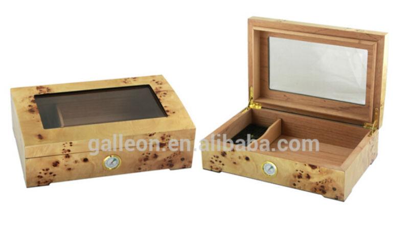 Cigar Humidifier Lacquer Cedar Box Mapa Burl Beveled Glass